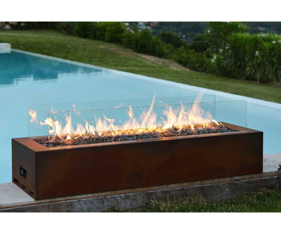 planika gas fireplace galio corten. Black Bedroom Furniture Sets. Home Design Ideas